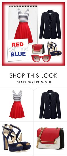 """""""red blue white"""" by divergent123 ❤ liked on Polyvore featuring Pure Collection, Jimmy Choo, Thierry Lasry, Post-It, contest and RetroSunglasses"""