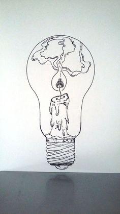 """Affiche Illustration Noir et blanc ampoule """"tenir une lampe allumée """""""