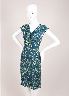 New With Tags Blue and Green Ruffle Pleated Floral Sleeveless Dress