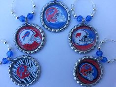 Christmas Gift ideas, NFL Teams, Buffalo Bills Wine Charms or PICK YOUR TEAM. We make Personalized Wine Charms and Party Favors