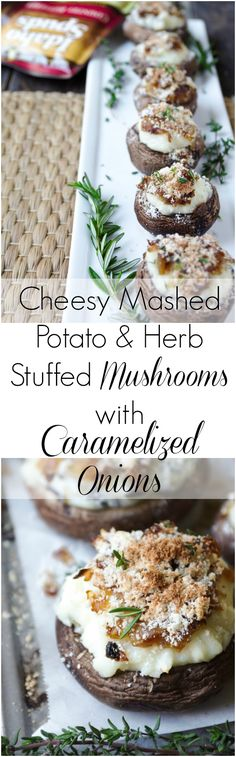 Cheesy Mashed Potato and Herb Stuffed Mushrooms with Caramelized Onions #BigFlavor #CLVR #sponsored