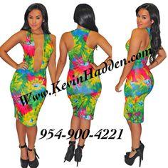 Image of Deep Vcut Tropical Dress (www.KevinHadden.com)