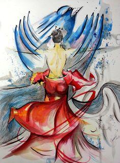 #watercolor Dançando e Voando #bird #dancing