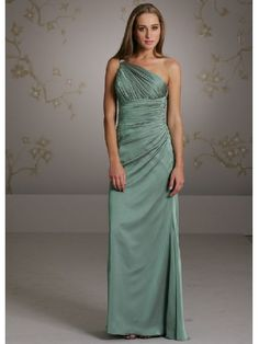 Fascinating A Line One Side Shoulder Slimly Floor Length Side Draped Dress - Bridesmaid Dresses - Wedding Party Dresses