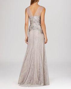 BCBGMAXAZRIA Gown - Julea Sleeveless Illusion Neck Metallic Sequin Lace   Bloomingdales's
