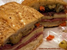 The original New Orleans Muffuletta sandwich and olive salad recipe from Central Grocery on Decatur Street. A lunchtime classic.