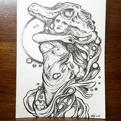 Reposting @nalagoart: Lady Gator. Micron 005. 4.5 x 3.5. Too many stars ✨🐊✨ #inkdrawing #ink #boligrafo #illustration #ilustracion #original #arte #art #gator #creature #lady #reptile #stars #drawing #dibujo #reptil #blanckandwhite