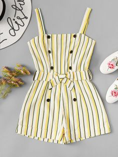 Shop Double Button Front Striped Cami Romper at ROMWE, discover more fashion styles online. Kids Dress Wear, Dresses Kids Girl, Kids Outfits Girls, Girls Fashion Clothes, Summer Fashion Outfits, Teenager Outfits, Cute Fashion, Cute Dresses, Cute Comfy Outfits