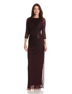 Adrianna Papell Women's Draped Gown With Brooches, Raisin, 8