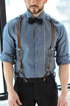 blue chambray long sleeve shirt, black vertical striped dress pants, black bow tie, brown leather braces for men - Buy the look: lookastic. Brown Suspenders, Suspenders Outfit, Leather Suspenders, Button Suspenders, Suspenders Fashion, Braces Suspenders, Groom Outfit, Retro Outfits, Vintage Outfits