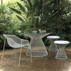 EMU Metal Mesh Glass Outdoor Dining Table - contemporary - outdoor tables - by Home Infatuation Metal Outdoor Chairs, Modern Outdoor Furniture, Outdoor Tables, Outdoor Spaces, Outdoor Decor, Outdoor Living, Patio Tables, Metal Mesh, Furniture Ideas