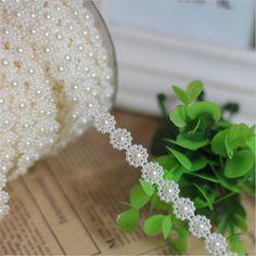 Material de diy 10 metros branco plum flor linha seqüências de conexão abs imitação de pérolas cadeia de talão de decoração de casamento por atacado