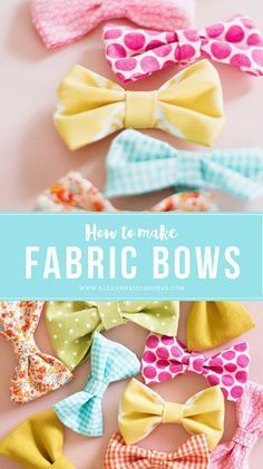 A collection of 12 Simple Scrap Fabric Projects including fabric bows, alphabet letters, magnets, chapstick holders, a fabric bunting and ruffled tea towel. Fabric Hair Bows, Diy Hair Bows, Diy Bow, Fabric Flowers, Diy Flowers, Diy Hair Clips, Homemade Hair Bows, Fabric Bow Headband, Ribbon Flower