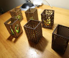 Following up on this amazing Instructables by Amanda: http://www.instructables.com/id/Laser-Cut-Tea-Light-Candle-Holders/ I decided to make a derivative, both employing her designs and adding a few new ones. Settings @VLS4.60 General Hard Woods ...