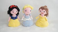 Muñecas Princesas Disney Amigurumi (Cenicienta , Blancanieves y Bella) - Patrón y Videotutorial en Español