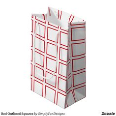 Red Outlined Squares Small Gift Bag