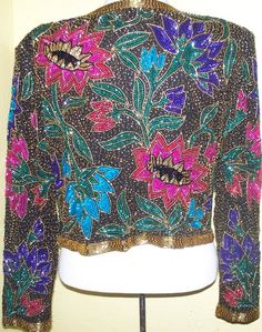 1970s-80s Fabulous Vintage Shorty Beaded and Sequined Floral Design Jacket-Night Vogue-Medium. Back view. (Jacket sold on Etsy)