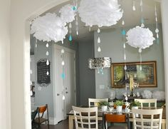 Baby Shower Decor - Love the pom poms that have rain drops, very clever!