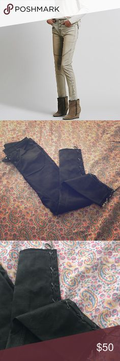 Black Free People Skinny Moto Lace Up Jeans - 27 Button up fly and Moto design with lace up legs. Like new never worn.  First photo to show style and trim! 💜   See my closet for FREE panty with a bundle! Free People Jeans Skinny