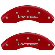 Set of 4 MGP Caliper Covers 20130Sivtrd, Engraved Front and Rear: I-Vtec, Red Powder Coat Finish, Silver Characters