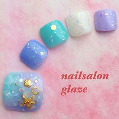 Mermaid toe nail art design for summer Gorgeous Nails, Love Nails, Pretty Nails, My Nails, Feet Nail Design, Toe Nail Designs, New Nail Art, Cute Nail Art, Nail Desighns