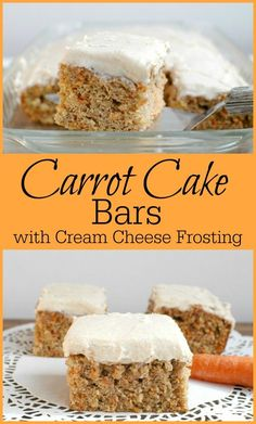 These Carrot Cake Bars with Cream Cheese Frosting are a yummy treat ...