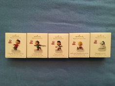 "Hallmark, Peanuts 2010 ""On Ice"" ornament set, $35-$50 online. Charlie $9-$18, Snoopy $12, Lucy $22, Linus $30 individual listings."