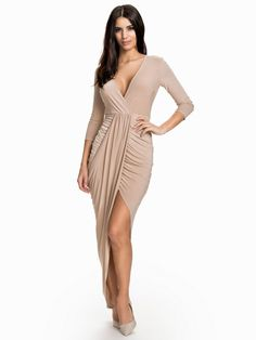 Carmen Taupe Asymmetrical 3/4 Sleeve Deep V Dress