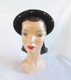 1940's Vintage Green Beaded and Sequinned Hat by MyVintageHatShop, $55.00