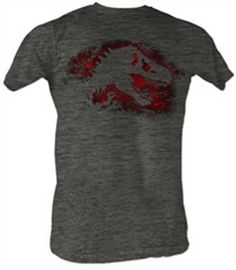 Amazon.com: Jurassic Park T-shirt Red Distressed Adult Charcoal Heather Tee Shirt: Clothing
