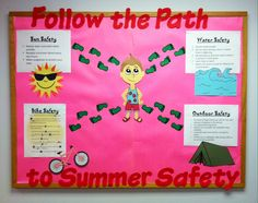 Last school nurse bulletin board of the year for my office. Follow the path to summer safety. Sun, water, bike and outdoor safety tips. #rn #aschoolnurselife #bulletinboard