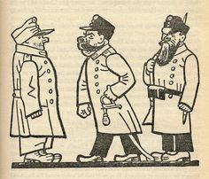 "Josef Lada – Illustration for Jaroslav Hašek's ""The Good Soldier Švejk and His Fortunes in the World War,"" 1924 The Good Soldier Svejk, World War One, First Novel, Illustrators, Literature, Art Pieces, Graphic Design, Cartoon, Artist"