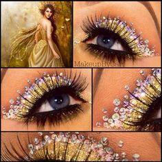 Eye Makeup Art using Crystals & Glitter - halloween eye makeup Jewel Makeup, Eye Makeup Art, Fairy Makeup, Eye Art, Silver Makeup, Fantasy Make Up, Fantasy Hair, Gorgeous Makeup, Tatoo