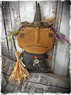 Primitive Folk Art, Old Grungy Witch Halloween Doll, Autumn Fall Decor, Shelf Tuck, Cupboard Sitter, OFG FAAP