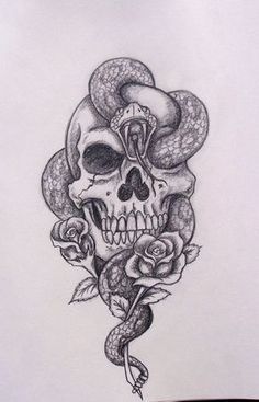 Cool-Black-Ink-Skull-With-Snake-And-Roses-Tattoo-Design.jpg 736×1,147 pixeles