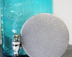aqua sparkly mason jars | Aqua Blue Mason Jar Drink Dispenser w Glitter Lid Silver Beverage ...