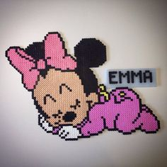 Custom baby Minnie Mouse hama beads by Lauro Espinosa Val Perler Bead Designs, Perler Bead Templates, Hama Beads Design, Hama Beads Patterns, Perler Bead Art, Beading Patterns, Hama Beads Disney, Hama Disney, Minnie Baby