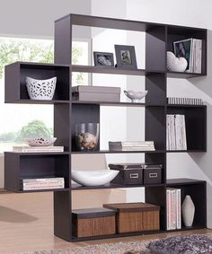 This unique design is just the thing for displaying treasured ceramics, photos, books, and memorabilia with style. The Lanahan Designer Shelving Unit is a 5-level modern bookshelf made of Espresso fau