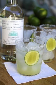 Tequila Gimlet / 2 ounces tequila (Silver or Blanco) / 2 ounces fresh lime juice (this is usually one juicy lime) / 2 ounces simple syrup / salt for rim / lime slices / splash of sparkling water (optional)