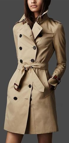 Trench coats were changed for civilians to wear. Burberry patented gabardine, a water proof woven cloth using Egyptian cotton. Trench coats uses a strap with a buckle for closures. Trench Coats, Burberry Trenchcoat, Beige Trench Coat, Classic Trench Coat, Ladies Trench Coat, Khaki Coat, Women's Coats, Mode Style, Style Me