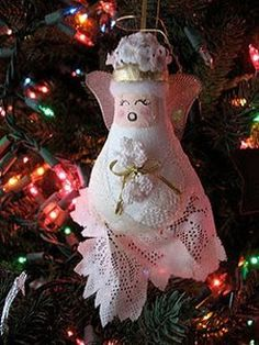 Recycled Light Bulb Angel Ornament | AllFreeHolidayCrafts.com
