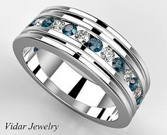 Multi Colored Diamond Wedding Band For Mens,Unique Mens Wedding Ring,Blue Diamond Wedding Band For Men's by Vidarjewelry on Etsy