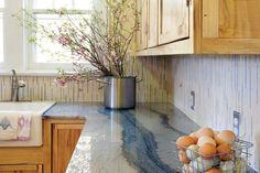 Back splash, counter and wood