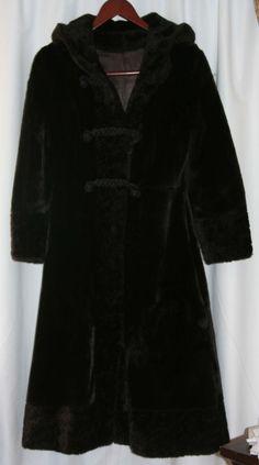 Womens Vintage Coat w/ Hood O'llegro Si by Glenoit Faux Fur Sz S  Dk Brown ILGWU #OllegroSibyGenoit #BasicCoat