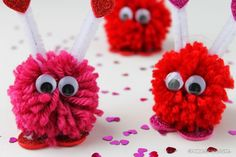 These were one of our top Valentine's Day crafts for kids last year! Pom Pom Valentine Monsters