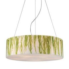 Elk Lighting 19043/5 Polished Chrome Modern Organics Five Light Green Sawgrass Down Lighting Pendant from the Modern Organics Collection