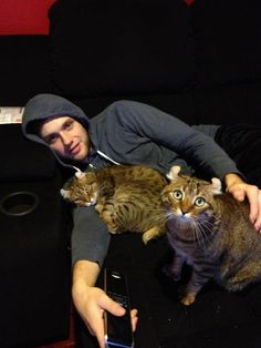 Bobby Ryan and his cats, Prince and Pelle