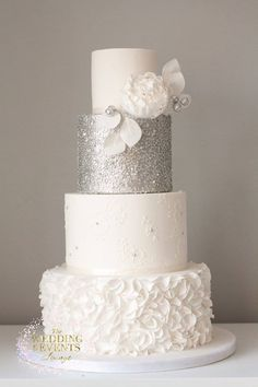Silver sequin wedding cake lace ruffles peony modern wedding cake