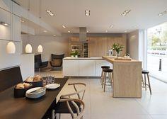 bulthaup b3 'Rough Sawn Oak' kitchen with Carl Hansen furniture and Gaggenau appliances in our Bath showroom. #kitchens #b3