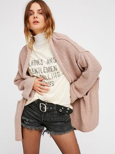 Low Tide Cardi | Effortlessly slouchy open cardi featuring a ribbed fabrication and relaxed rolled sleeve cuffs. Side pocket details.